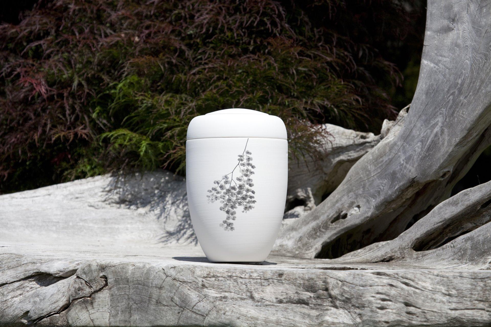 Steiniger Grund mit weißer Urne