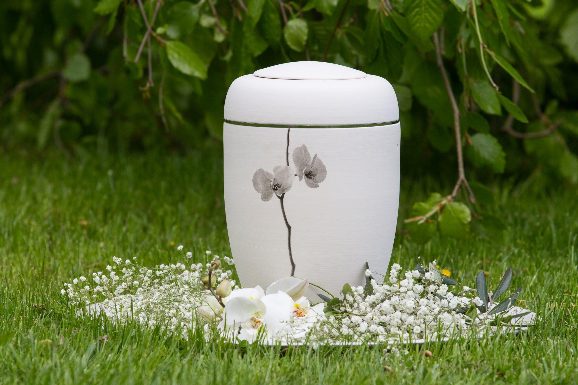 Wiese mit Blumenuntergrund und Urne
