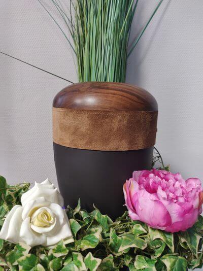 Holz Leder Urne dunkel